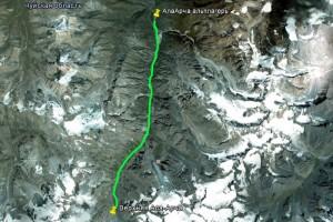 маршрут от альплагеря до хижины Верхняя АлаАрча