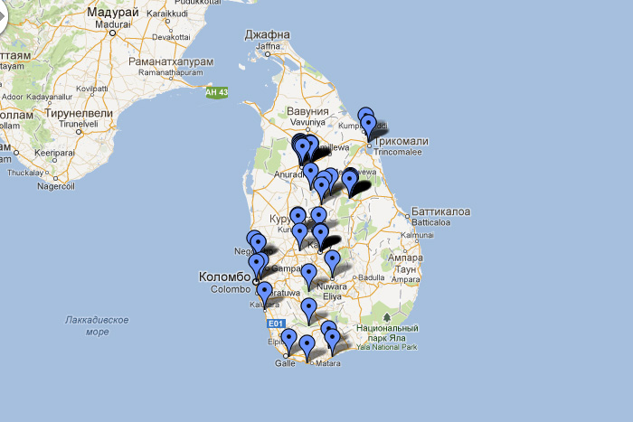 Карта достопримечательностей Шри-Ланки.