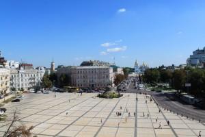 Киев. Вид на софийскую площадь с первого уровня колокольни.