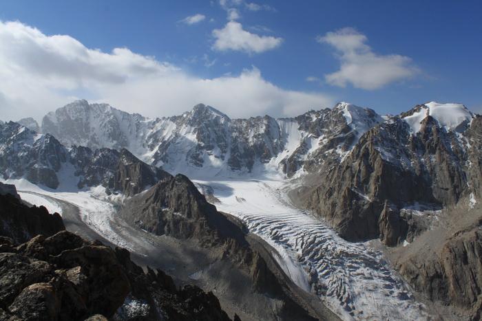 Киргизия. Вид с пика Учителя на Ак-Сай. Сентябрь.