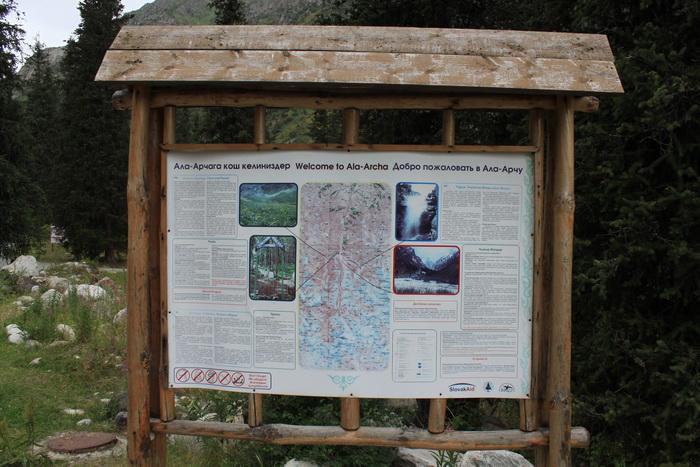 Киргизия. Природный парк Ала-Арча. Карта местности.
